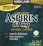 Kirkland Signature Low Dose Aspirin, 2 bottles - 365-Count Enteric Coated Tablets each