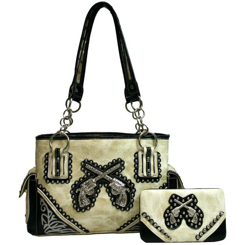 Western Cowgirl Double Cross Gun Pistol Purse Rhinestones Bling Handbag With Matching Wallet - Beige