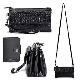 Gottowin Women\'s Leather Purse Wallet Clutch Handbag Cross-body Bag Organizer w/ Wrist Strap +Card Holder (7.7-Inch , fit iPhone 6 / 6S, Black)
