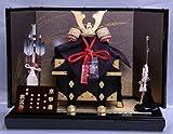 【新作】【五月人形】兜平飾り【武久】中長鍬深赤【8号】和紙本装屏風k2s1【兜飾り】