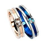 天然ダイヤ入 好きなメッセージが刻印できる サージカルステンレス クロスライン ペアリング 指輪2個セット ステンレスリング