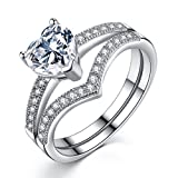 VIKI LYNN Bridal Sets Engagement Rings for Women made in 925 Sterling Silver 1ct Heart Cubic Zirconia 7.5