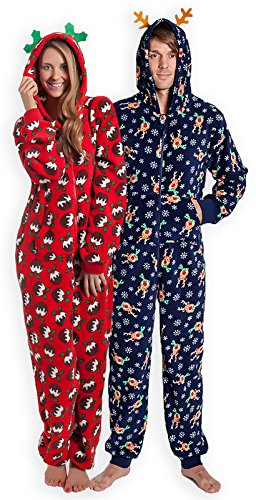 Unisex-Christmas-Hooded-Onesie-New-Mens-Womens-Printed-All-In-One