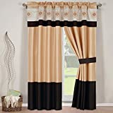 """5-PC Set 84""""Wx84""""L Madison Gold with Chocolate Window curtain set including 2 Panels, 2 Tie Backs and 1 Valance"""