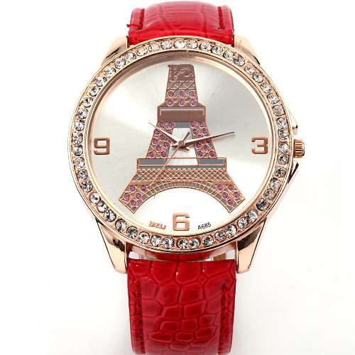 AMPM24 New Fashion Crystal Eiffel Tower Lady Women Girl Red Leather Quartz Watch Cool