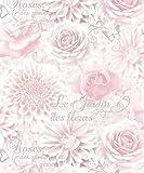 Fine Decor Jardin Wallpaper FD40641 Rose Flower Floral Calligraphy Pink Silver