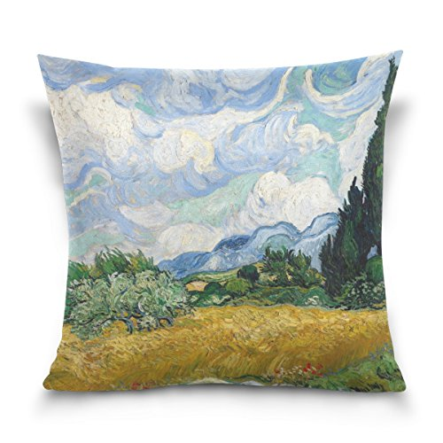 BAISHUISHOP 100% Cotton Decorative Square Decorative Throw Pillow Case Cushion Cover Van Gogh Pattern (Van Gogh Painted With Words compare prices)