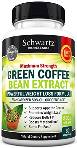 Green Coffee Bean Extract 800mg with GCA - Extra Strength Weight Loss Pills with 50% Chlorogenic Acid - Green Coffee Bean to Lose Weight - No Side Effects - Made in USA. Money Back Guarantee (60 vaggie caps) (Coffee Bean Extract Highest Grade compare prices)