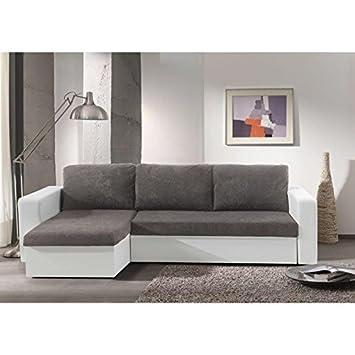 ECHO Canapé convertible lit + coffre angle réversible gris blanc