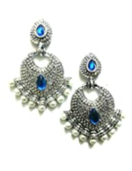 Ethnic Fashion Earrings With Pearl And Coloured Crystals In Silver Finish, Blue