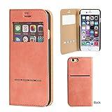 iPhone6s iPhone6 ケース 手帳型 カバー 窓付き カード収納 ウィンドウ フリップ / ピンク