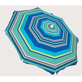 6-ft Rio Beach Umbrella with Tilt & SPF 100 Blue Stripes