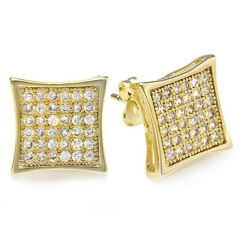 18K Yellow Gold Plated Clear CZ Cubic Zirconia Kite Shaped Hip Hop Iced Cube Stud Earrings (11 mm x 11 mm )