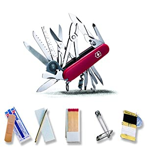 Victorinox Swiss Army Swiss Champ SOS Set Pocket Knife (Red) by Victorinox