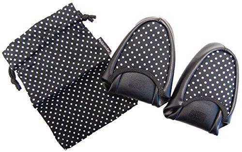 スリッパ水玉 ブラック (二つ折り 巾着付き 女性用 約23.5~24.5cm) 3511