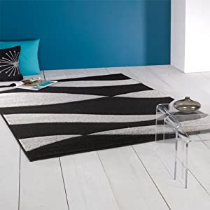 Flair Rugs Orleans Organza Hand Carved Rug, Black/Silver, 80 x 150 Cm from Flair Rugs