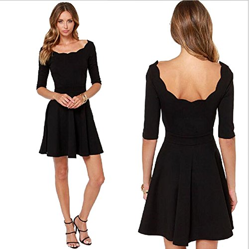 Moolecole Scallop Shell Collar Sleeve Dress Princess Hepburn Style Little Black Dress (S)