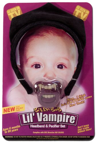 Lil Vampire Headband And Pacifier Set Infant Halloween Fangs Costume Accessory front-518579