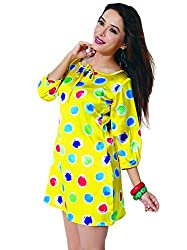 Garden Vareli Womens Satin Column Dress (Gardenvareli Western Dress 1022-A _Yellow _Medium)