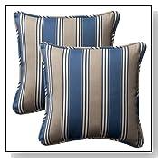 Decorative Blue/Tan Striped Toss Pillows