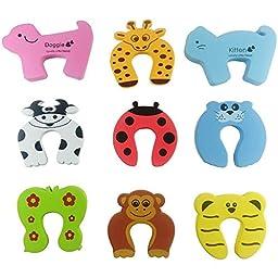 OKEYKID Creative & Thicken Children Safety Door Stoppers, Animal Cushiony Foam Door Stops to Prevent Baby\'s Fingers from Being Caught in the Door, 9 Packs