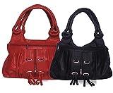 Arc HnH Women Combo Handbag Fancy Ring - Black+Red