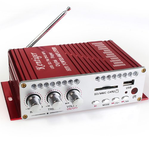 Usb Sd Fm Dvd Mp3 Player 20W+20W Motorcycle Car Amplifier Red