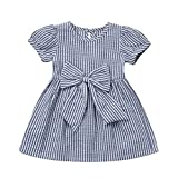Cenhope Infant Baby Girls Striped Bowknot Short Sleeve Princess Dress (Blue, 0-6 Months)