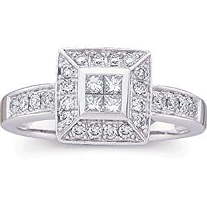 IceCarats Designer Jewelry 14K White Gold Diamond Ring. Size 8