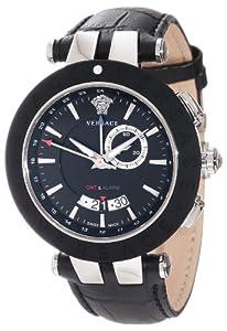 Versace Men's 29G9S9D009 S009 V-Race Black Rubber Bezel Dual-Time Black Leather Big Date Watch