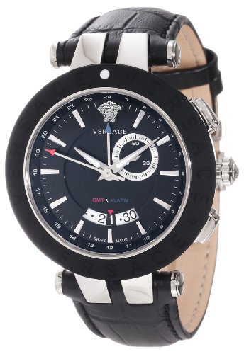Versace Men's 29G9S9D009 S009 V-Race Black Rubber Bezel Dual-Time Black Leather Big Date Watch