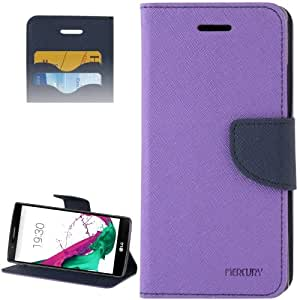 Cross Texture Horizontal Flip Color Matching Leather Case with Card Slots & Wallet & Holder for LG G4 (Purple)