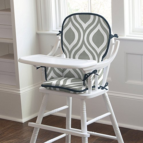 Carousel Designs Gray And Navy Raindrops High Chair Pad front-341079