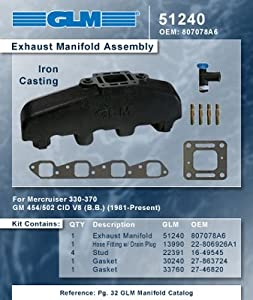 MERCRUISER EXHAUST MANIFOLD GM BIG BLOCK (CAST IRON) | GLM Part Number: 51240; Mercury Part Number: 807078Q07