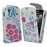 Accessory Master - Funda de piel con tapa para Samsung Galaxy Ace S5830, diseño de flores, color rosa y azul