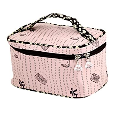 Best Cheap Deal for uxcell Plastic Lady Crystal Accent Print Zipper Travel Case Makeup Cosmetic Bag Light Pink from uxcell - Free 2 Day Shipping Available