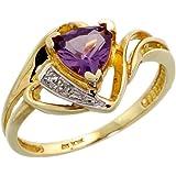 10k Gold Trillion Ring, w/ Brilliant Cut Diamonds & Trillant Cut February Birthstone 6mm Amethyst Stone, 7/16 in. (11mm) wide
