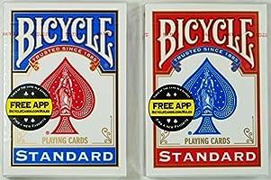 """适合魔术 扑克之王 """"Bicycle Rider Back 单车扑克 808扑克尺寸"""" 取得受欢迎的红色及蓝色套组!"""