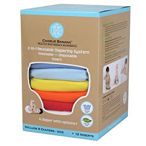Charlie Banana 6 Reusable Diapers 12 Inserts Set, Unisex, Small