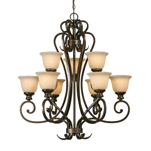 B000YQBJAA Golden Lighting 8063-9 BUS Heartwood 2 Tier Chandelier, Burnt Sienna Finish