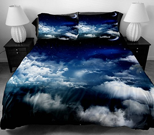 Anlye Dorm Bedding Set For Home Decor 2 Sides Printing White Clouds Mass In The Blue Sky Duvet Cover With 2 Luxury Pillow Cases Twin front-599102