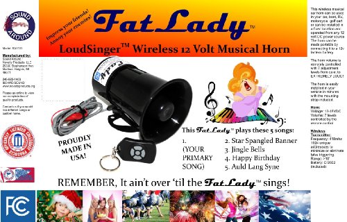 University of Alabama FatLadyTM Musical 5 Song Car Horn with WIRELESS REMOTE CONTROL