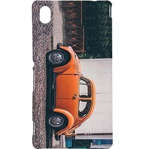 Casotec Orange Vintage Car Design Hard Back Case Cover for Sony Xperia M4 Aqua