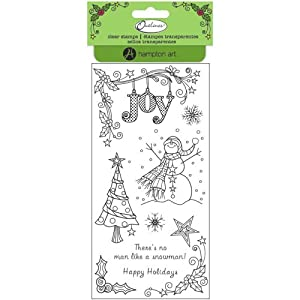 Hampton Art Outlines Clear Stamps, 4 by 8-Inch, Snowman Joy