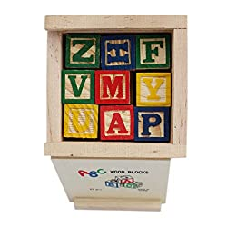 Tootpado Alphabet & Number Non-Toxic Wooden Abcd And 1234 Building Blocks (27 Wood Blocks, Block Size 2Cm Cube - Small Size)
