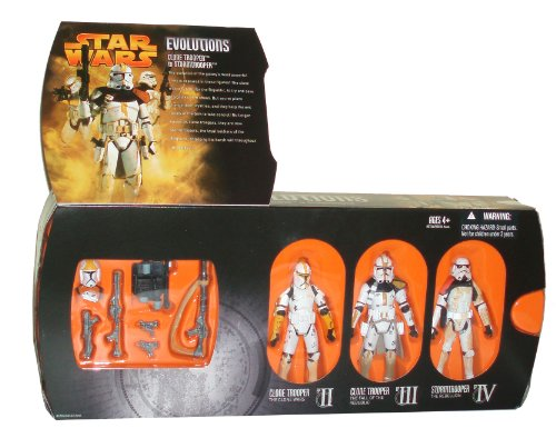 "Buy Low Price Hasbro Star Wars Year 2005 Evolutions Series 3 Pack 4 Inch Tall Action Figure – CLONE TROOPER to STORMTROOPER with Clone Trooper from ""The Clone Wars"", Clone Trooper from ""The Fall of the Republic"" and Stormtrooper from ""The Rebellion"" Plus 1 Additional Helmet, Backpack, 2 Blaster Rifles and 3 Blaster Pistols (B003N45Q2C)"
