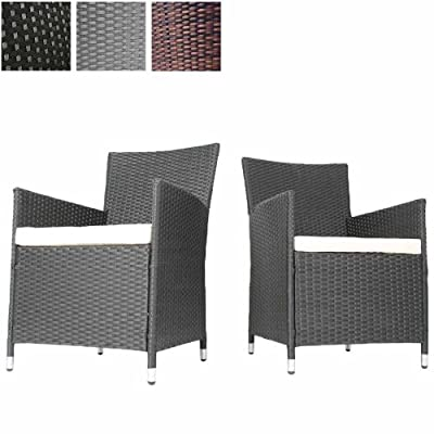 Miadomodo® RTST04/2 Set of 2 Rattan Chairs + Seat Cushions DIFFERENT COLOURS
