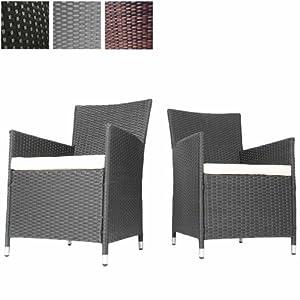 2er Set Polyrattan Sessel Stühle Gartenmöbel inkl. Sitzkissen verschiedene Farben