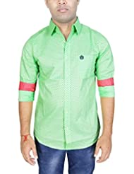 AA' Southbay Men's Pista Green Printed 100% Cotton Long Sleeve Casual Shirt