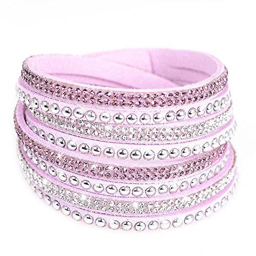 Braccialetto Slake Wrap Brillando Strass Cristall in cuoio Di Daino rosa